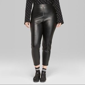 Faux Leather High Rise Leggings with O-Ring Zipp